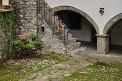 Sutrio, Carnia, Friuli, Italy. Old courtyard Stock Images