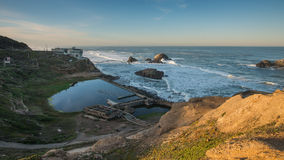 Sutro Baths Ruins with Broken Pipes, San Francisco at Sunrise Stock Photography