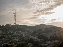 Sutro tower overlooking San Francisco royalty free stock photos