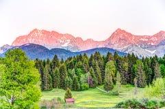 Sutset at the bavarian Karwendel mountains Stock Photo