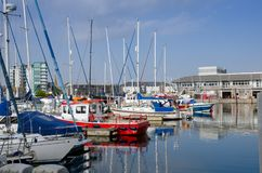 Sutton Harbour Plymouth, England. Beautiful Boats In Sutton Harbour, Plymouth, England In Spring Season On May Royalty Free Stock Image