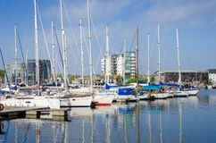Sutton Harbour Plymouth, England. Beautiful Boats In Sutton Harbour, Plymouth, England In Spring Season On May Royalty Free Stock Photography