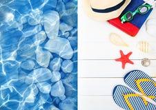 Suumer-Gegenstände, Berufung Poolplattform, Erholungsorteinzelteile Flipflop-Huttuch auf hölzernem Hintergrund stockbild