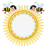 Suuny frame with bees Stock Images