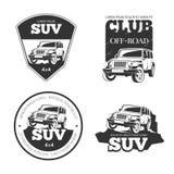 Suv汽车传染媒介象征,标签和商标 库存照片
