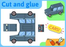 SUV越野卡车纸模型 小家庭工艺项目,纸比赛 删去,折叠和胶浆 孩子的保险开关 免版税图库摄影