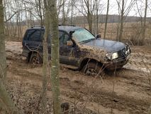 Suv越野4wd汽车乘驾通过泥泞的水坑 免版税库存图片