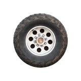 SUV车轮,正面图被隔绝 免版税图库摄影