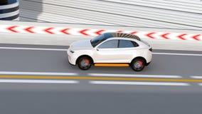 SUV électrique autonome blanc conduisant sur la route illustration libre de droits
