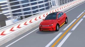 SUV électrique autonome rouge métallique conduisant sur la route illustration libre de droits