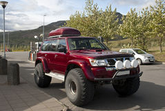 Suv. In a gasoline station in Iceland Royalty Free Stock Image