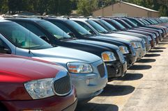 SUV. Rows of sport utility vehicles , SUV'S, for sale on a car dealers lot Royalty Free Stock Images
