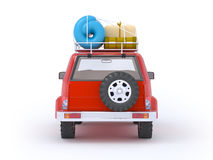 Suv adventure back. 3d red SUV adventure with roof rack. Back view Royalty Free Stock Photography