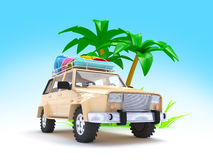 SUV adventure with palm Stock Photo