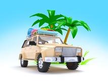 SUV adventure with palm Stock Photo