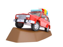 SUV adventure with rock Stock Image
