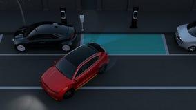 SUV autonome est stationnement parallèle dans le parking au bord de la route avec les éléments graphiques illustration stock