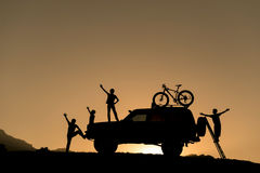 SUV bicycles and adventure Royalty Free Stock Image
