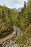 SUV bil i bergen royaltyfri bild