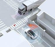 SUV blanco en calle de sentido único detectó el vehículo en el punto ciego Pare firman adentro japonés ilustración del vector