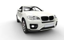 SUV blanco Front View Imagen de archivo libre de regalías