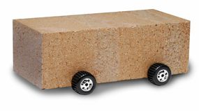 SUV Brick Car. Brick with wheels on a white background stock photography