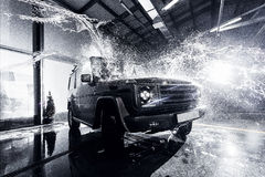 SUV car at the carwash Stock Photo