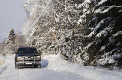 Suv, Car, Driving In Snowy Country Royalty Free Stock Photography