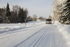 Suv, car, driving in snowy country Stock Images