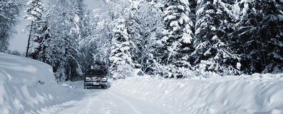 Suv, car, driving in snowy country Stock Photo