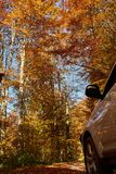 SUV car in the forest. 4x4 SUV car in the forest at autumn time Royalty Free Stock Photo