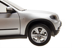 SUV car front part. The front part of the luxury suv car on white.(side view royalty free stock photo