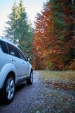 SUV car on the road. SUV 4x4 car on the road in the autumn Stock Images