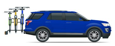 Suv car is transporting bicycles loaded on the Back of a Van. Side view. Flat style illustration isolated on white. Background royalty free illustration