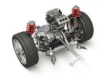 SUV Car Under carriage technical 3 D rendering. Front part. Royalty Free Stock Photos