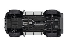Suv car 4wd suspension, bottom view Stock Photos