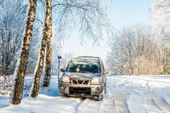 Suv car in winter Royalty Free Stock Images