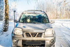 Suv car in winter Royalty Free Stock Photography
