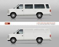 SUV cars vector template. SUV cars vector mock-up for car branding and advertising. White vans on transparent background. Elements of corporate identity. All Royalty Free Stock Photography
