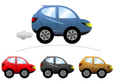 SUV Cartoon Car. Illustration featuring a set of SUV colored cartoon cars isolated on white background. Eps file is available royalty free illustration