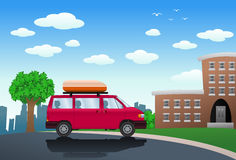 SUV cartoon infront of building Royalty Free Stock Photo