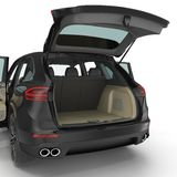 SUV clean empty trunk isolated on a white. 3D illustration Royalty Free Stock Photos