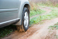 Suv in countryside road Stock Photography