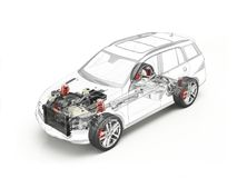 Suv cutaway drawing showing undercarriage details with accessories. Suv cutaway drawing showing realistic undercarriage details plus accessories in ghost effect vector illustration