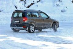 SUV in de sneeuw stock afbeeldingen