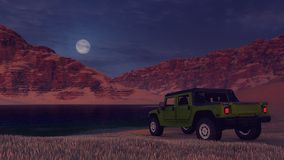 SUV on the desert lake bank under full moon Royalty Free Stock Photo