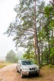 Suv die bij kant van de weg wordt geparkeerd stock fotografie