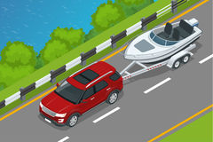 The SUV drives a motor boat along the road along the sea. Summer vacation on the sea and motor boat rides. Vector. Isometric icon or infographic element vector illustration