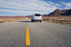 SUV driving in Utah. stock photography