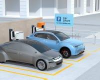 SUV elettrico nel parcheggio di car sharing Fotografia Stock